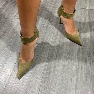 Manolo Blahnik Olive Suede Kesha Ankle Strap Heels